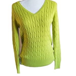St John's Bay Cable Pullover V-neck Sweater